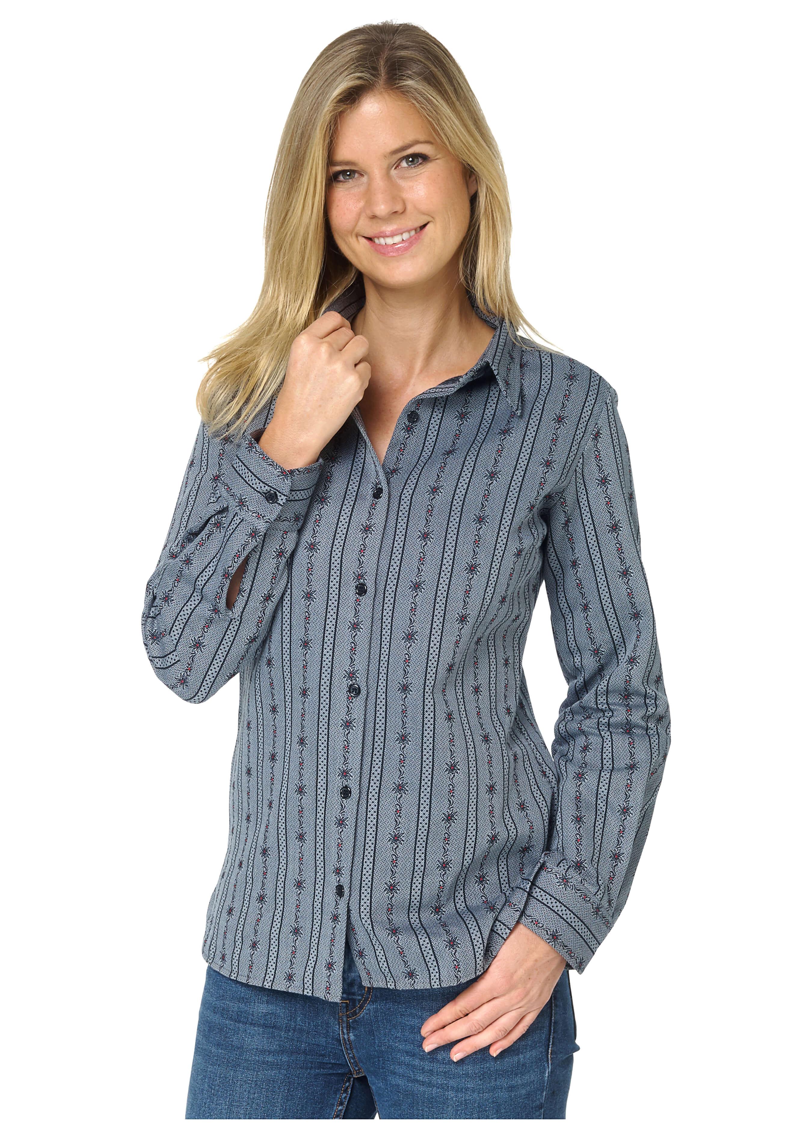 Damen Edelweiss Bluse mit geradem Saum 272812L 1