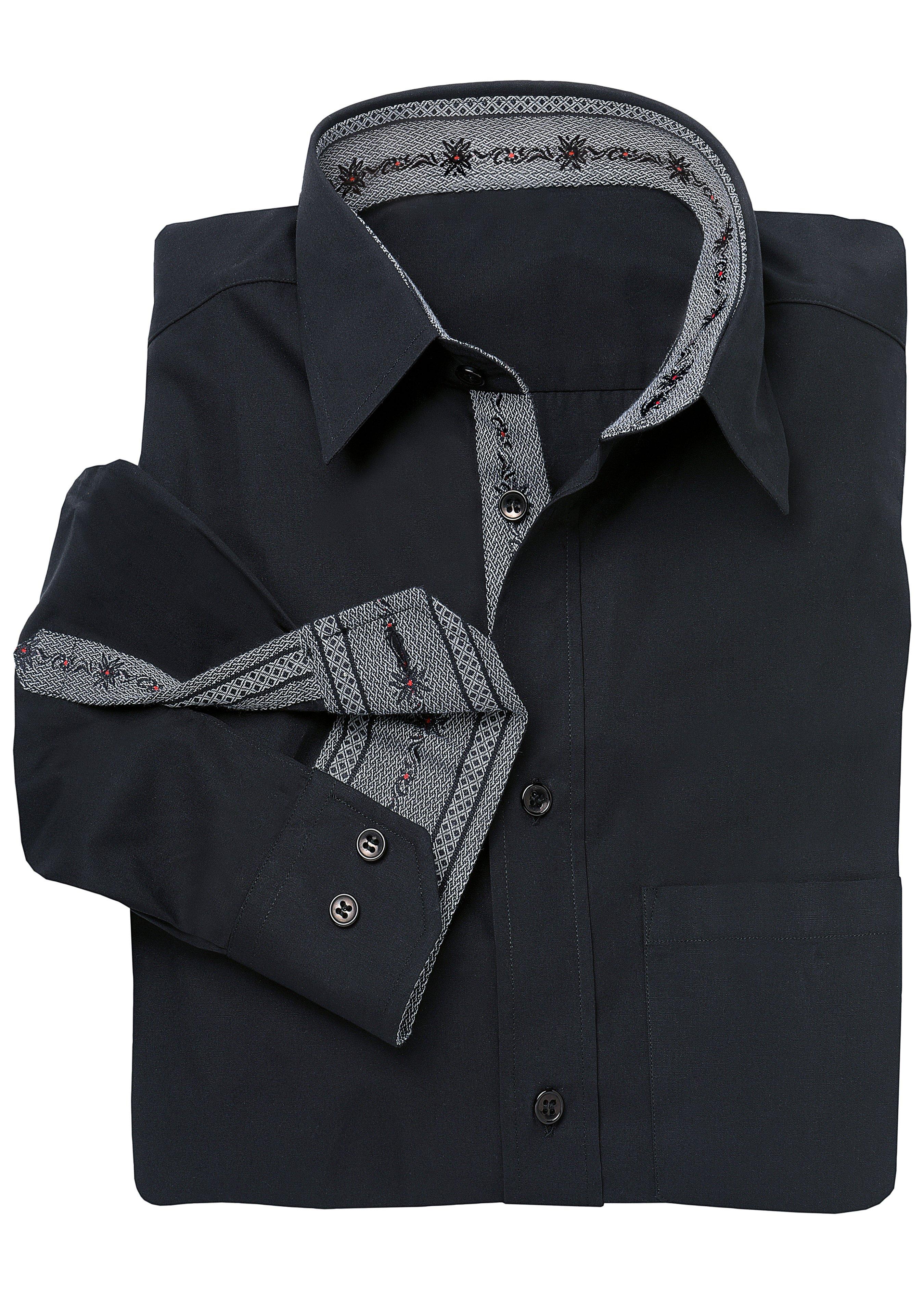 Herren-Baumwollhemd mit Edelweisseinsätzen 21251038 1