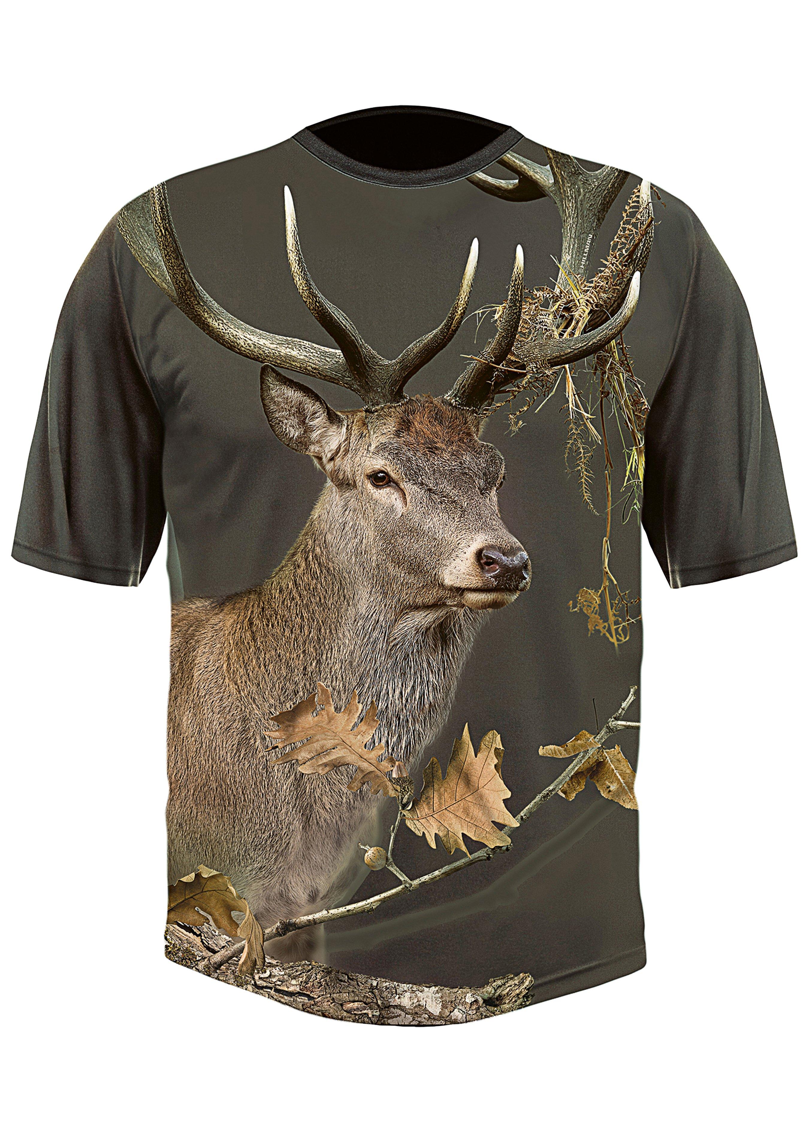T-shirt 3D Cerf olive 243924L 1